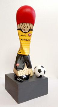 """Skulptur """"Dynamospieler"""", Gipsguss, handbemalt"""