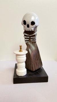 """Skulptur """"Skull"""", Gipsguss, handbemalt"""