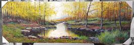 """Original Ölbild """"Idyllischer Waldfluss im Herbst"""" Landschaftsbild"""
