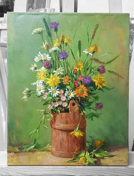 """Original Ölbild """"Wiesenblumen im Holzfass"""" Stillleben"""