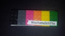 Wachsmalstifte Bausteine 6er Set Schwarz