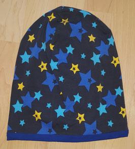 Beanie Grau, Sterne farbig, Blau uni