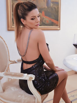 Backless Sexy Long Open Back Sequins Deep