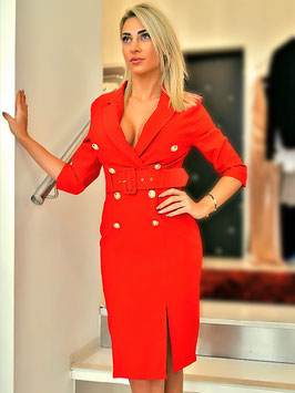 Belted Red Blazer Dress