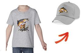 teeshirt et casquette enfant truite fario