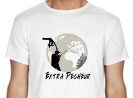"""T-shirt humoristique pêcheur """" extra pecheur """""""