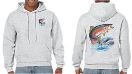Sweat capuche pêcheur de truite arc en ciel