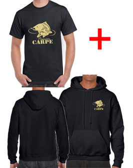 T-shirt et sweat avec capuche carpe commune