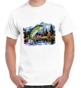 tee-shirt pêcheur de truite à la mouche