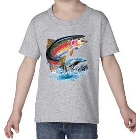 T-shirt enfant pêcheur de truite arc en ciel