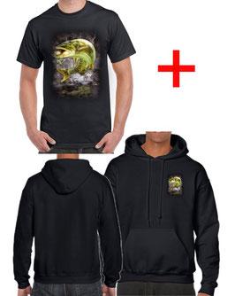 T-shirt et sweat avec capuche et brochet