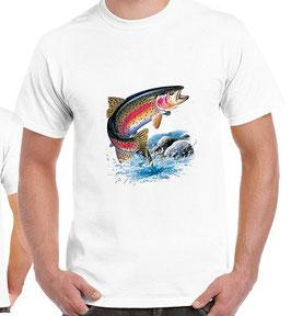 T-shirt truite arc en ciel a la mouche