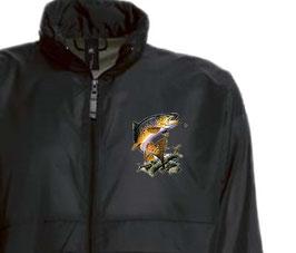 Coupe-vent pêcheur truite sauvage fario