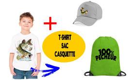 teeshirt, casquette et sac pecheur de brochet