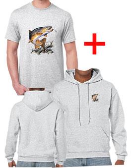 T-shirt et sweat avec capuche truite