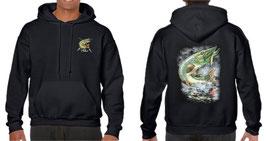 Sweat capuche pêcheur de brochet au leurre