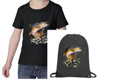 sac et teeshirt garçon pêcheur truite fario