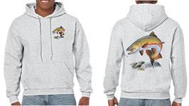 Sweat capuche pêcheur de truite saumonée