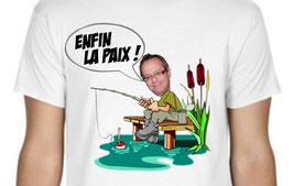 T-shirt humour loisir du pêcheur, enfin la paix