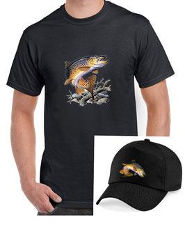 teeshirt et casquette pecheur de truite fario