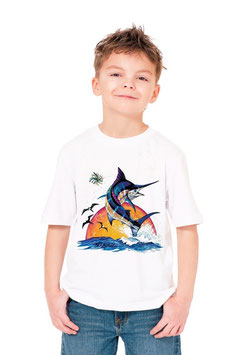 T-shirt petit pêcheur de marlin bleu