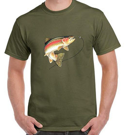 t-shirt avec truite sauvage au leurre