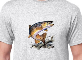 Tee-shirt pêche truite fario aux vers