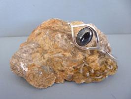 Bracelet œil demi-jonc hématite