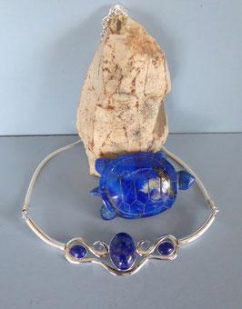 Collier martelé lapis lazuli