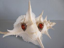 Boucles d'oreille vieil argent ambre