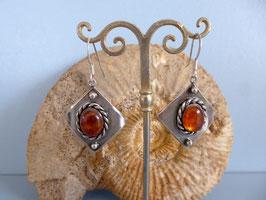 Boucles d'oreilles vieil argent ambre