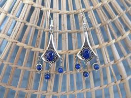 Boucle d'oreille vieil argent en lapis lazuli