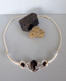 Collier martelé onyx noir
