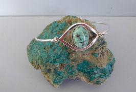 Bracelet  œil demi-jonc turquoise