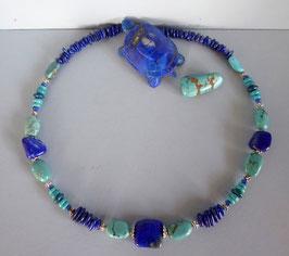 Collier turquoise et lapis lazuli
