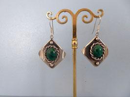Boucles d'oreilles vieil argent malachite