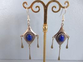 Boucles d'oreille vieil argent lapi lazuli