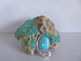 Pendentif martelé turquoise P NO 8 TU