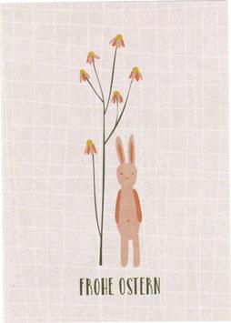 "Postkarte Hase mit Blüten, rosa - ""Frohe Ostern"""