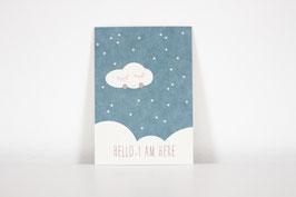 """Postkarte """"Hello, I am Here"""", blue (Englisch)"""