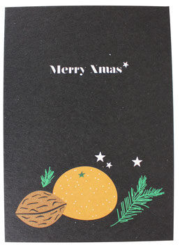 Postkarte Mandarinen schwarz - Merry XMas