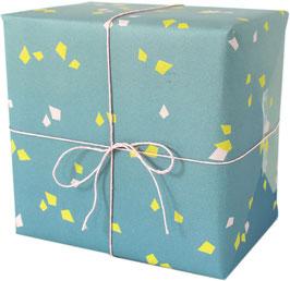 Geschenkpapier Konfetti, blau/gelb/weiss (3 Bogen)