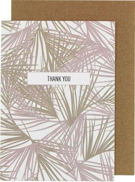Klappkarte Palmblätter (groß), rosa/khaki - Thank You