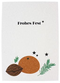 Postkarte Mandarinen weiss - Frohes Fest