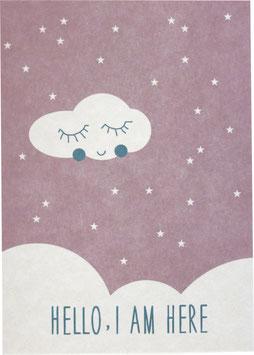 "Postkarte ""Hello I am Here"" rosa (Englisch)"