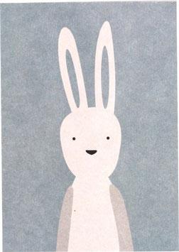 Postkarte Hase Langohr, blau (ohne Text)