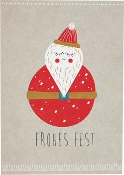Postkarte Weihnachtsmann - Frohes Fest