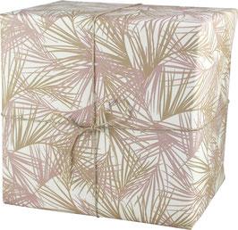 Geschenkpapier Palmblätter gross, weiss/rose/khaki (3 Bogen)