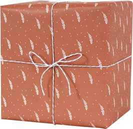 Geschenkpapier Blätterzweige, rostrot (3 Bogen)