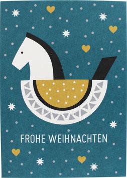 Postkarte Schaukelpferd, Petrol - Frohe Weihnachten